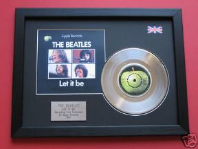 "THE BEATLES - Let It Be 7"" PLATINUM Disc WITH Cover"